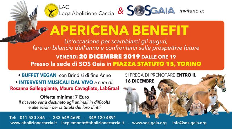 20 dicembre 2019 ore 19 Sede SOS Gaia, Piazza Statuto 15, Torino -  APERICENA BENEFIT per gli animali