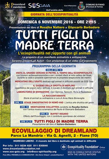 Presentazione del libro TUTTI FIGLI DI MADRE TERRA - 6 novembre 2016 - Ecovillaggio di Dreamland