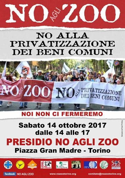 Presidio NO agli ZOO - 14 ottobre 2017 - Torino, Piazza Gran Madre