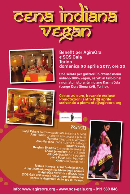 30 aprile 2017 - Cena indiana vegan Benefit - Evento a favore delle iniziative NO ZOO A TORINO