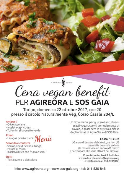 Cena vegan benefit per Agireora e SOS Gaia - 22 ottobre 2017 - circolo Naturalmente Veg, Torino
