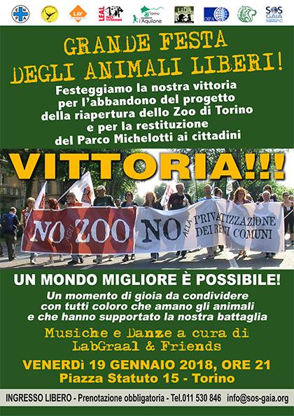 Grande Festa degli Animali Liberi - 19 gennaio 2018 - SOS Gaia Piazza Statuto 15, Torino