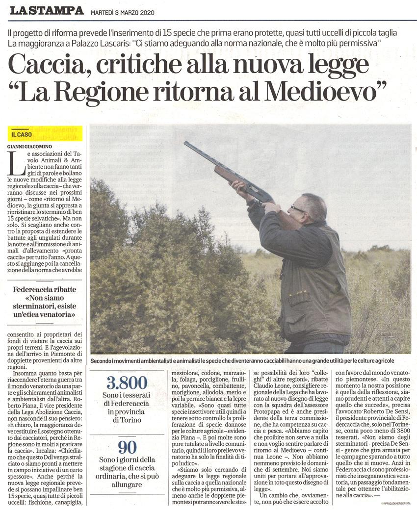La-Stampa-03-03-2020-Caccia-ritorno-al-medioevo