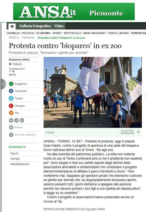 Ansa.it - 14 ottobre 2017 - Presidio NO AGLI ZOO, 14 ottobre 2017, Torino