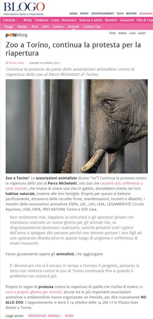 Blogo - PetsBlog - 10 ottobre 2017 - Presidio NO AGLI ZOO, 14 ottobre 2017, Torino