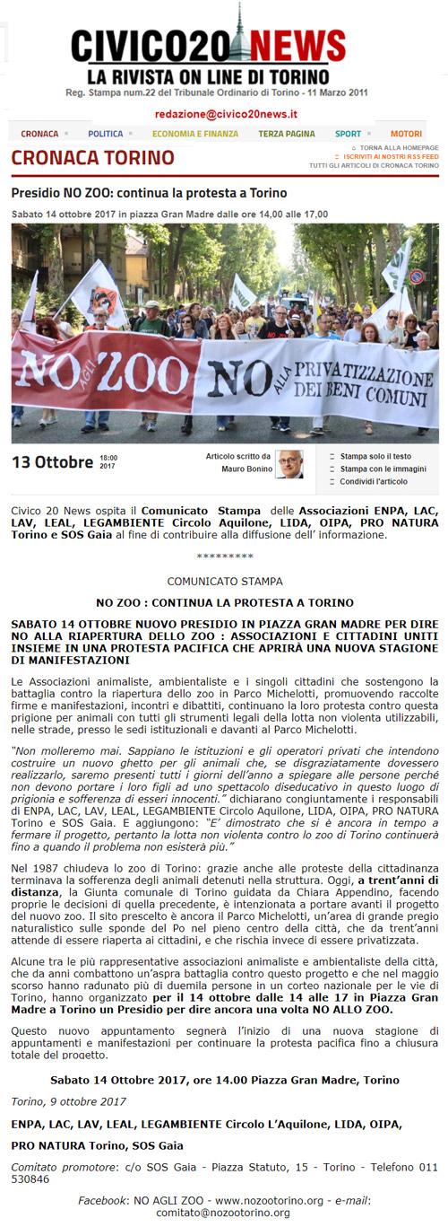 Civico 20 News - 13 ottobre 2017 - Presidio NO AGLI ZOO, 14 ottobre 2017, Torino