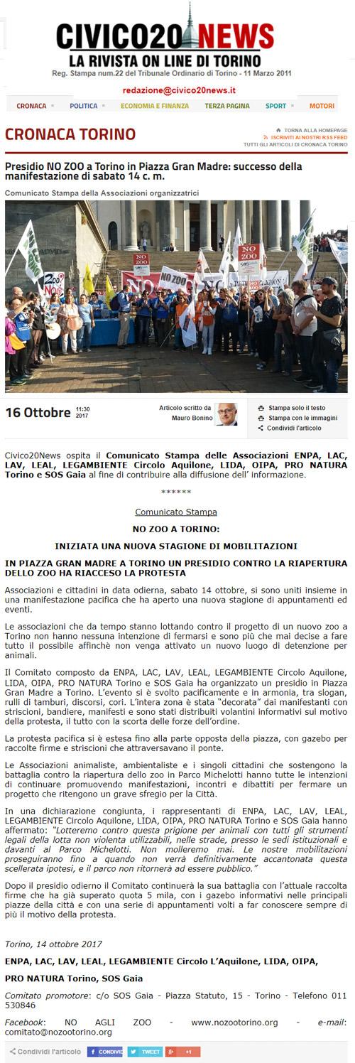 Civico20news - 16 ottobre 2017 - Presidio NO AGLI ZOO, 14 ottobre 2017, Torino