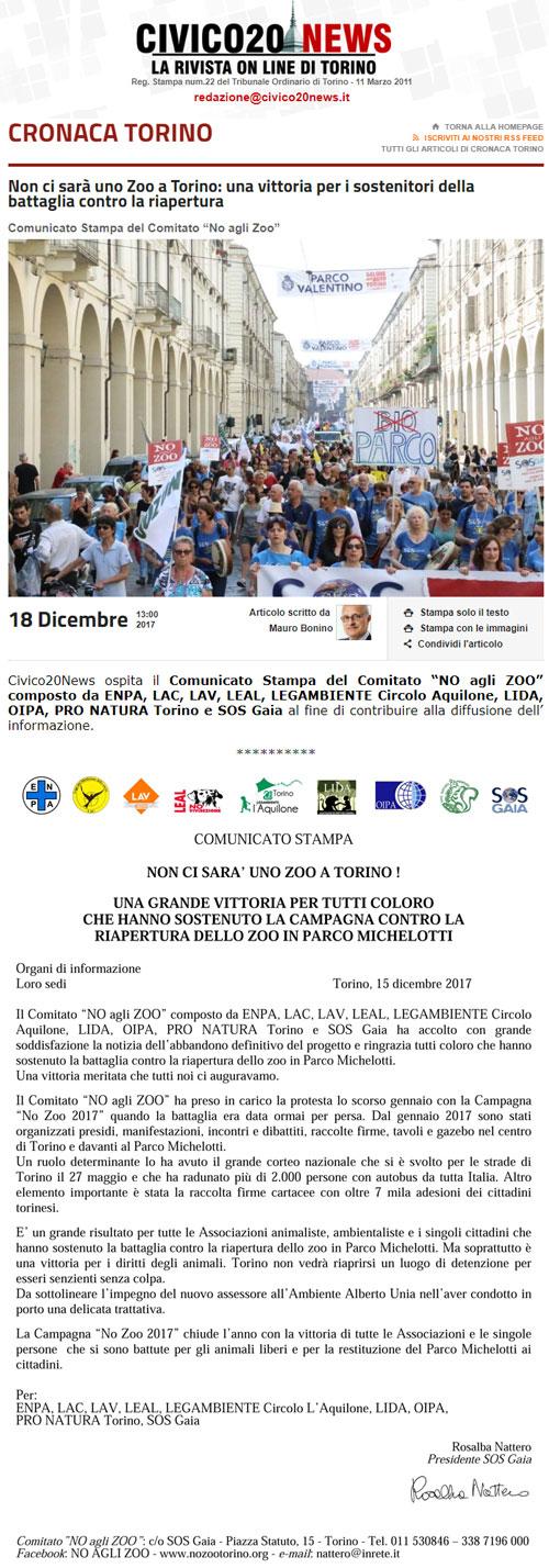 Civico20 News- 18 dicembre 2017 - NON CI SARA' UNO ZOO A TORINO !