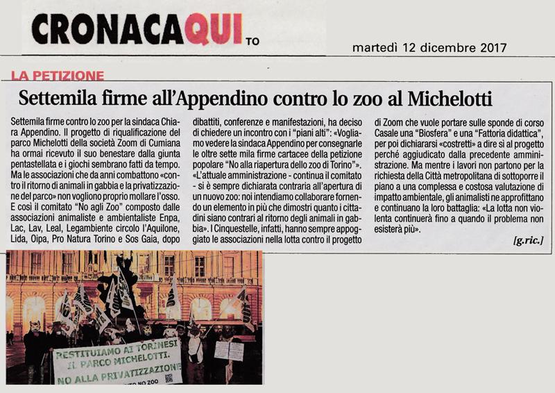 Cronacaqui - 12 dicembre 2017 - La Petizione - Settemila firme all'Appendino contro lo zoo al Michelotti