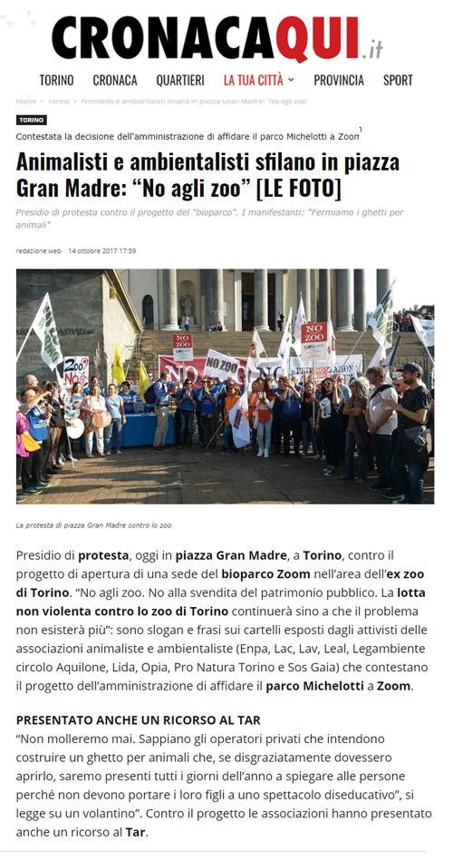 Cronacaqui.it - 14 ottobre 2017 - Presidio NO AGLI ZOO, 14 ottobre 2017, Torino