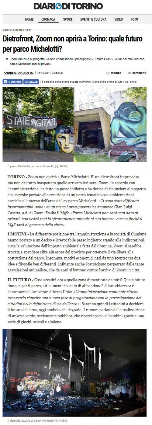 Diariodi Torino- 15 dicembre 2017 - NON CI SARA' UNO ZOO A TORINO !