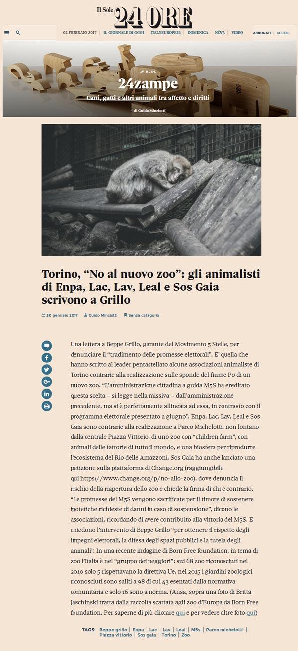 Il Sole 24ore Lunedì 30 gennaio 2017 - Gli animalisti scrivono a Grillo