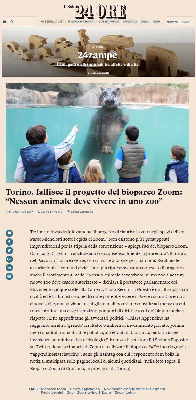 Il Sole 24ore - 17 dicembre 2017 - NON CI SARA' UNO ZOO A TORINO !