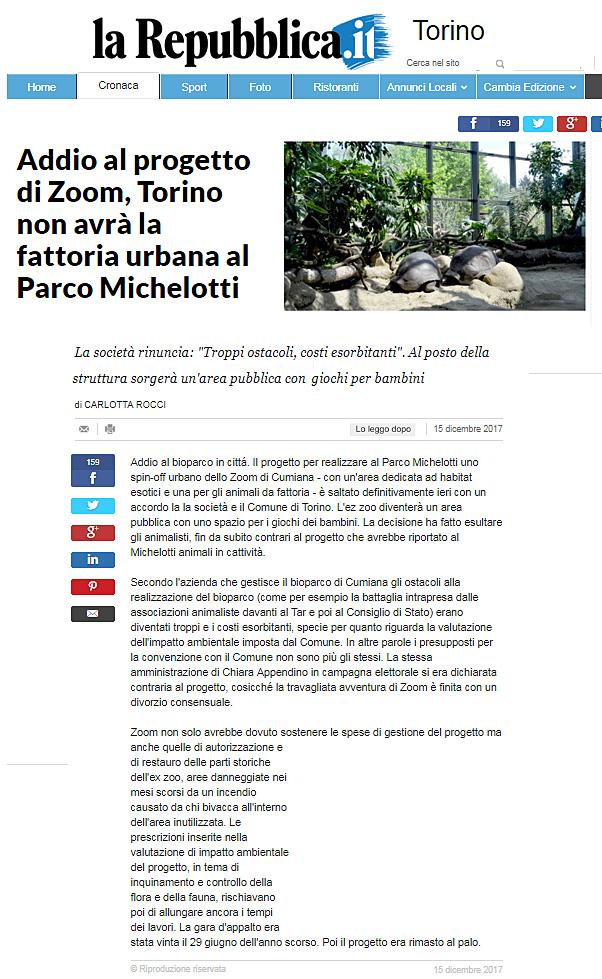 La Repubblica- 15 dicembre 2017 - NON CI SARA' UNO ZOO A TORINO !