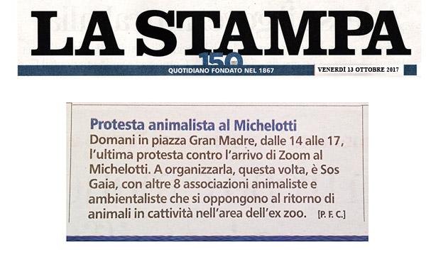 La Stampa - 13 ottobre 2017 - Presidio NO AGLI ZOO, 14 ottobre 2017, Torino