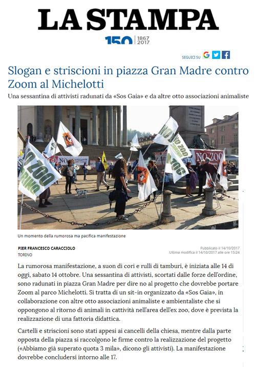 La Stampa - 14 ottobre 2017 - Presidio NO AGLI ZOO, 14 ottobre 2017, Torino