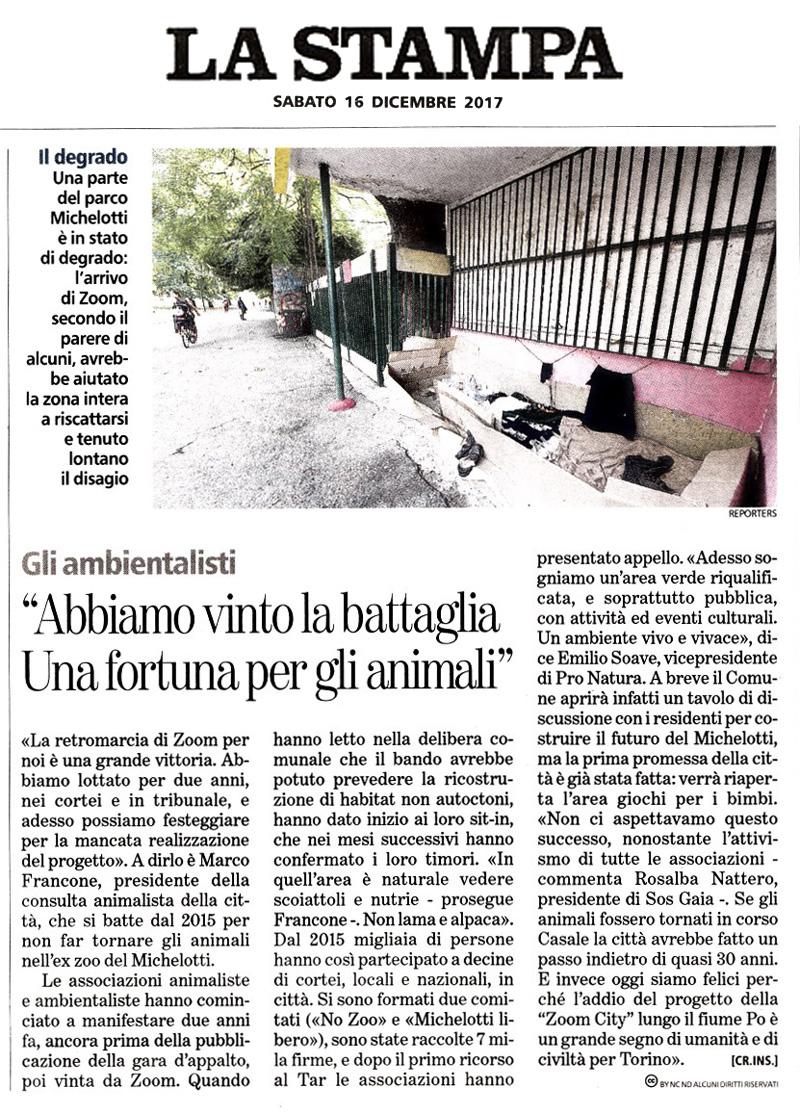 La Stampa - 16 dicembre 2017 - NON CI SARA' UNO ZOO A TORINO !