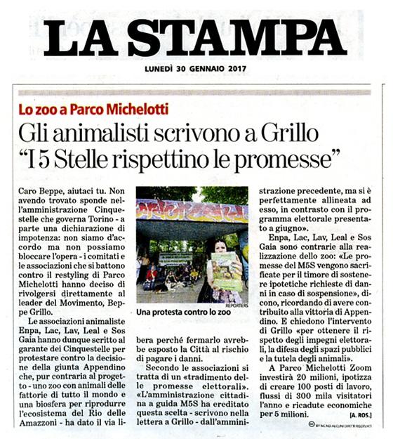 La Stampa Lunedì 30 gennaio 2017 - Gli animalisti scrivono a Grillo