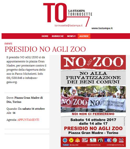 La Stampa - Torino7 - 11 ottobre 2017 - Presidio NO AGLI ZOO, 14 ottobre 2017, Torino