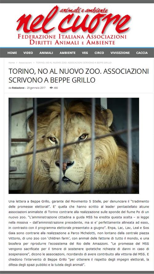 Nel Cuore - Domenica 29 gennaio 2017 - Torino, no al nuovo zoo. Associazioni scrivono a Grillo