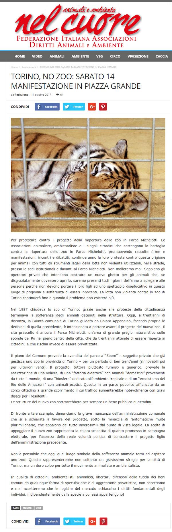 Nel Cuore.org - 11 ottobre 2017 - Presidio NO AGLI ZOO, 14 ottobre 2017, Torino