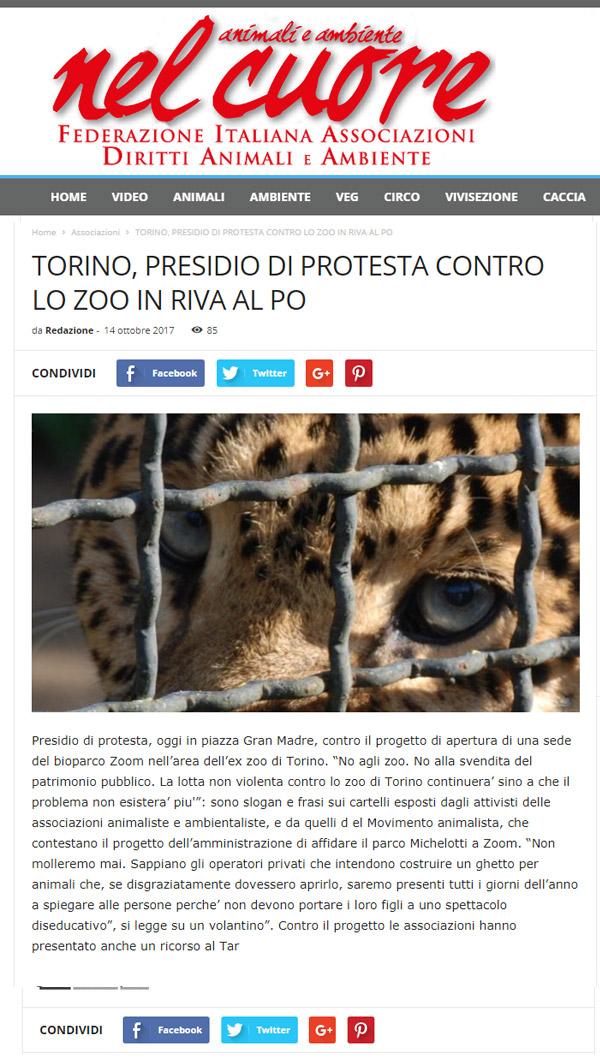 Nelcuore.org - 14 ottobre 2017 - Presidio NO AGLI ZOO, 14 ottobre 2017, Torino
