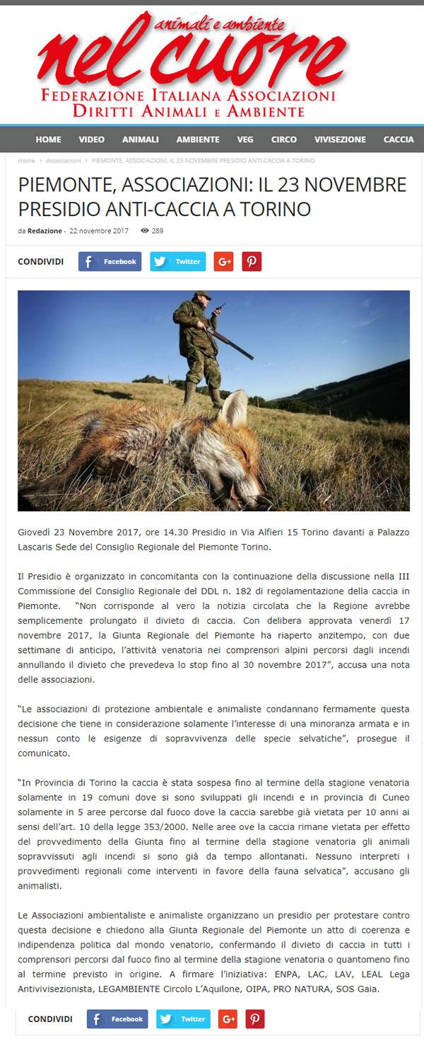 Presidio contro la caccia, 23 novembre 2017, Torino