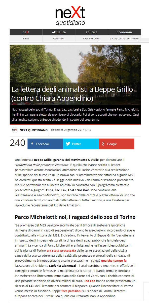 Next Quotidiano - Domenica 29 gennaio 2017 - Lettera degli animalisti a Beppe Grillo