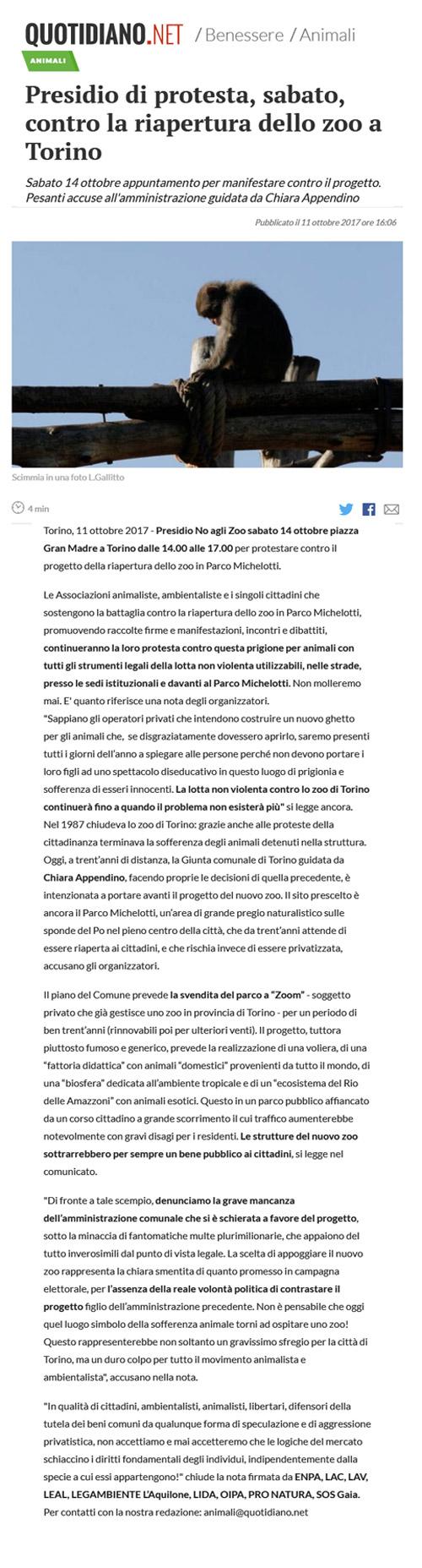 Quotidiano.net - 11 ottobre 2017 - Presidio NO AGLI ZOO, 14 ottobre 2017, Torino