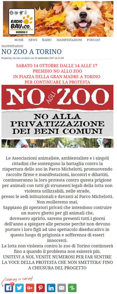 Radio Bau 29 settembre 2017 - Presidio NO AGLI ZOO, 14 ottobre 2017, Torino