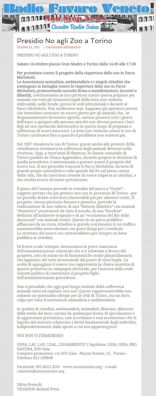 Radio Favaro Veneto - 11 ottobre 2017 - Presidio NO AGLI ZOO, 14 ottobre 2017, Torino