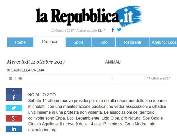 La Repubblica.it - 11 ottobre 2017 - Presidio NO AGLI ZOO, 14 ottobre 2017, Torino