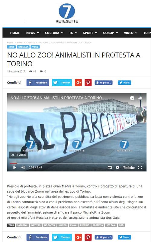 Rete7- 15 ottobre 2017 - Presidio NO AGLI ZOO, 14 ottobre 2017, Torino