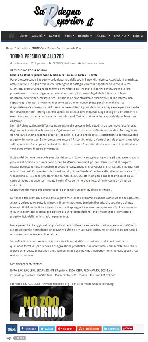 Sardegnareporter - 14 ottobre 2017 - Presidio NO AGLI ZOO, 14 ottobre 2017, Torino