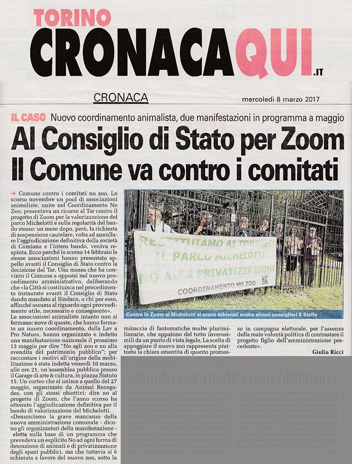 Torino Cronaca 08-03-2017 - Al Consiglio di Stato per Zoom. Il Comune va contro i comitati.