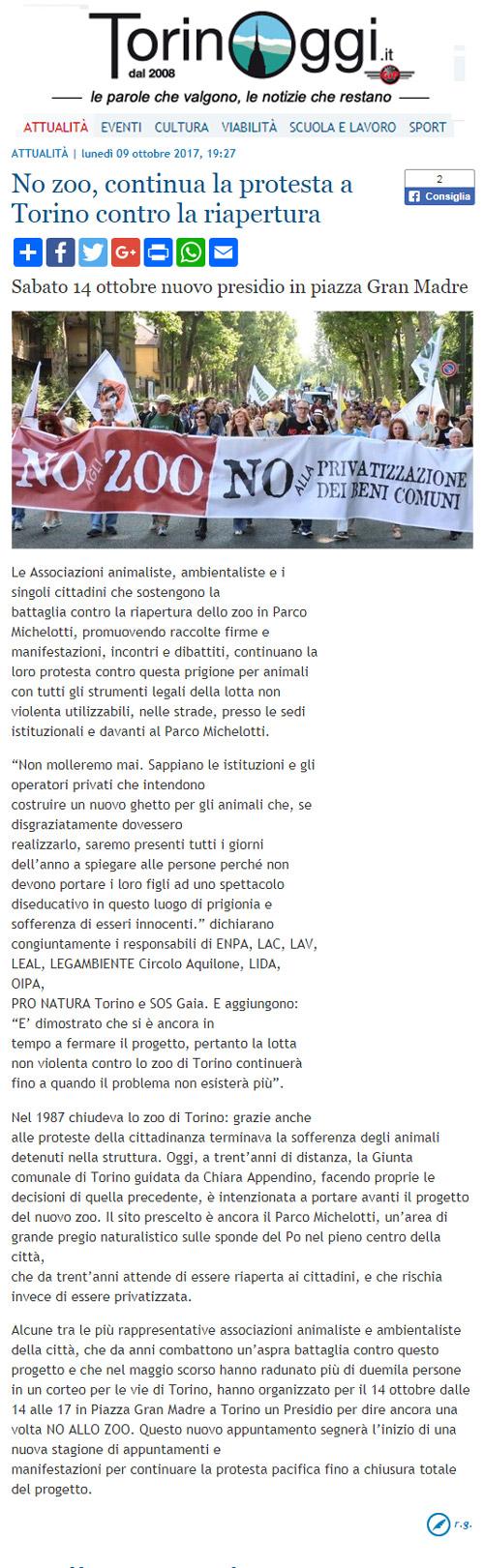 Torino Oggi - 9 ottobre 2017 - Presidio NO AGLI ZOO, 14 ottobre 2017, Torino