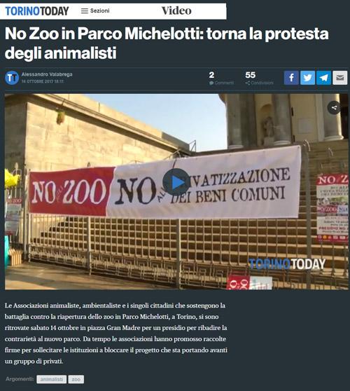 Torino Today - 14 ottobre 2017 - Presidio NO AGLI ZOO, 14 ottobre 2017, Torino