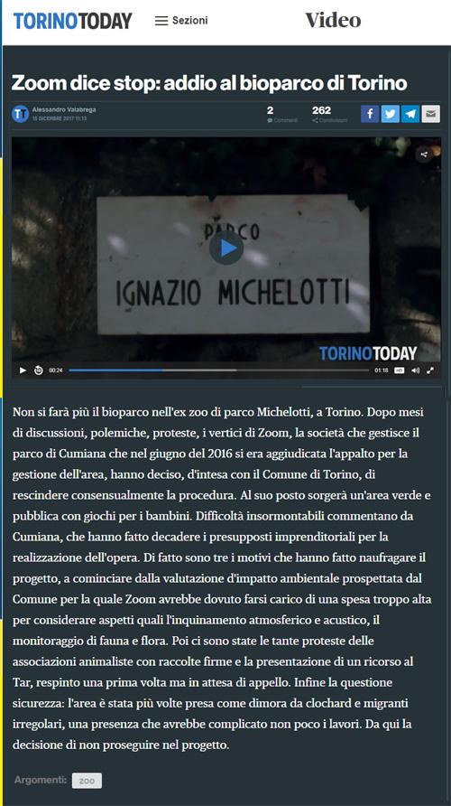 Torino Today- 15 dicembre 2017 - NON CI SARA' UNO ZOO A TORINO !