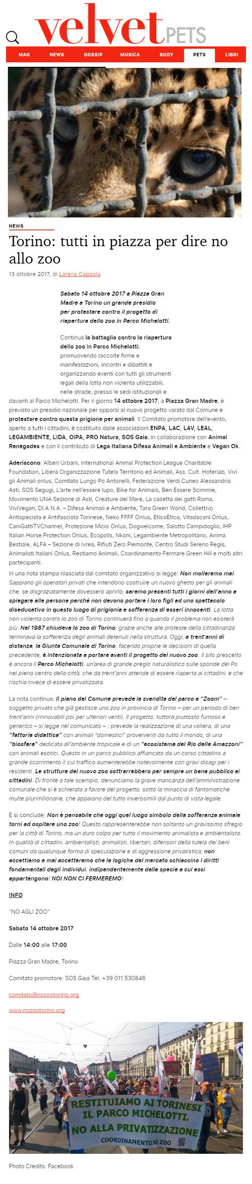 VelvetPets - 13 ottobre 2017 - Presidio NO AGLI ZOO, 14 ottobre 2017, Torino
